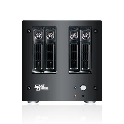 Hình ảnh Sans Digital AccuNAS AN4L+B - NAS + iSCSI 4 Bay 64bit Network Storage Server Tower (Black)
